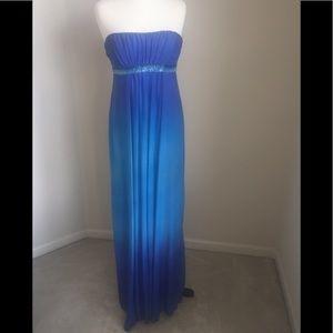 Strapless Blue Ombré Gown